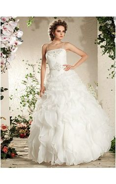 Ball Gown Spaghetti Straps Floor-length Organza Wedding Dress