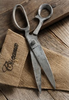 Scissors with Burlap Case