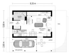 Projekt domu Szarejka – 63.63 m2 - koszt budowy 65 tys. zł Narrow House, Apartment Layout, Facade House, Future House, House Plans, Floor Plans, How To Plan, Home, Cabanas