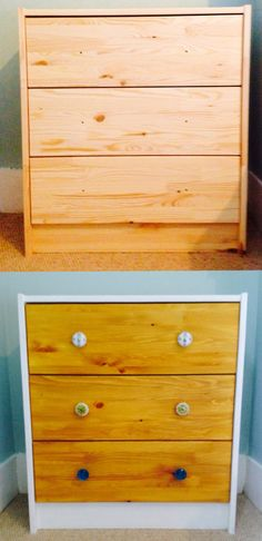 IKEA hack - chest of drawers - painted white, wood stained, new drawer knobs
