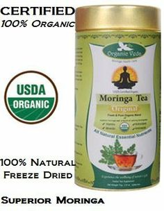 """Organic Moringa Original Tea - Fresh Organic blend of Superior Moringa Leaf with calming Lemongrass. 2.6oz in a Container. """"100% Certified Organic"""" By """"USDA"""". *** Back on popular demand and customers request *** by Organic Veda Moringa. $15.99. Drink Organic Veda Moringa Tea Now..!  ?Flush out your body toxins; ?Lose weight healthy & lower (LDL) cholesterol level; ?Boosts your Immune system, body metabolism; ?Get increased energy  superior variety of Moringa oleifer..."""