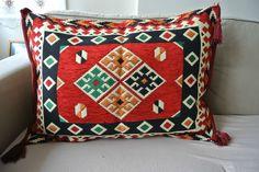 Turkish Anatolian Double Side Kilim Pillow Cushion Hand Woven  Madder-Mod 7