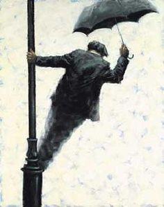 Singing in the Rain…What a wonderful feeling, I'm Happy again…Image Alexander Millar 1960 Umbrella Art, Under My Umbrella, Walking In The Rain, Singing In The Rain, Watercolor Illustration, Watercolor Art, Arte Black, Smell Of Rain, Graffiti Wall Art