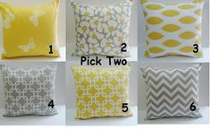 THROW PILLOWS Two 26x26 Select  2 -Decorative Throw Pillows Gray Yellow 26x26 Euro Shams Throw Pillow Covers Home and Living