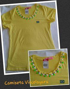 Coleção da Copa 2014 - Camiseta de viscolaycra com aplicação de perolas e estrelas de resina + bordado da bandeira do Brasil.