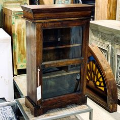 "Wood and Glass Hanging Wall Cabinet Item 711357 Measures 20x9x32"" Priced at $130 - #spicecabinet #display #wallcabinet #furniture #decor #walldecor"