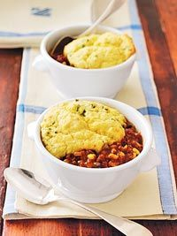 Turkey Chili Corn Bread Casseroles  Will use my own chili recipe, but like the idea of individual servings with  cornbread on top...wonder if Jiffy Corn Muffin mix will work?