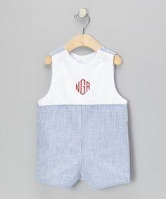 Loving this Wish Upon a Star Blue Pinstripe Monogram Shortalls - Infant & Toddler on #zulily! #zulilyfinds