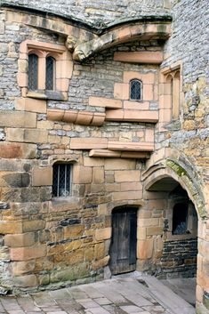 Haddon Hall, Derbyshire, England, UK | The entrance gateway seen from the inside. I just love the stonework of this beautiful, fortified, medieval, Manor house. It was used as the location for the home of Mr Rochester in the BBC production of Jane Eyre. The fire scenes where pyrotechnic special effects allowed the Hall to 'burn' through the night resulted in nearly 100 calls to the fire brigade by worried local residents.