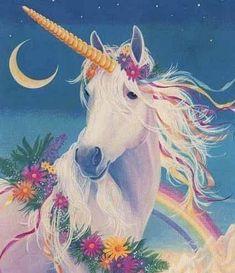 Photo of Rainbow for fans of Unicorns. A rainbow, the moon, flowers and a beautiful unicorn Unicorn And Fairies, Unicorns And Mermaids, Magical Unicorn, Unicorn Horse, Unicorn Art, Rainbow Unicorn, Unicorn Fantasy, Magical Creatures, Fantasy Creatures