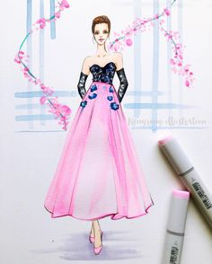 Likes, 16 Comments - Rongrong DeVoe Dress Design Sketches, Fashion Design Sketchbook, Fashion Design Drawings, Fashion Sketches, Fashion Drawing Dresses, Fashion Illustration Dresses, Fashion Dresses, Dress Drawing, Watercolor Fashion