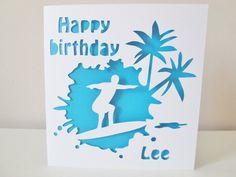 Hand cut personalised surfer birthday card by MoorStyleCreations, £3.00