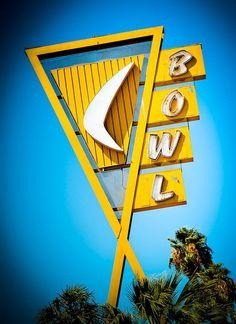 retro bowling sign