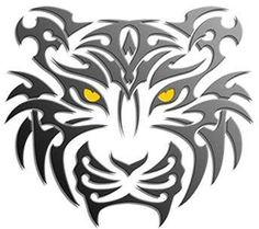 Black Ink Tribal Tiger Tattoo Design