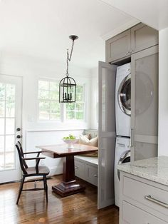Cottage Dining-rooms from TerraCotta Properties on HGTV--Like the laundry solution in a small space