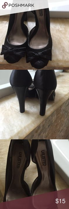 Black pumps Black unlisted pumps. The shoe is in great condition. Peep toe. Unlisted Shoes Heels