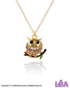 BIRDS - Gold Tone Owl on Branch 3D Pendant Necklace