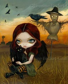 The Scarecrow gothic fairy angel Cat fantasy big eye lowbrow art - print by Jasmine Becket-Griffith 8x10. $13.99, via Etsy.