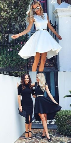 2017 homecoming dress, high low short homecoming dress, white short homecoming dress, black short homecoming dress, little black dress