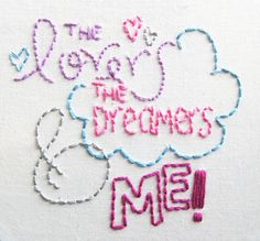 """Embroidery pattern from Wild Olive """"the lovers, the dreamers & me!"""" Lots of adorable embroidery patterns on this blog."""