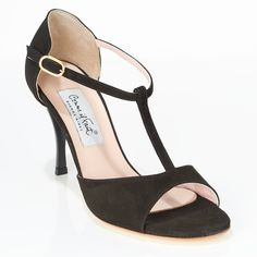 www.felinashoes.com Argentine Tango Shoes from Comme il Faut shoes. Open toe, T-strap, enclosed heel cage. Black suede, black stiletto heels, gold leather sole. Sizes 4 (34), Size 5 (35), Size 6 (36), Size 7 (37), Size 8 (38), Size 9 (39), Size 10 (40), Size 11 (41)