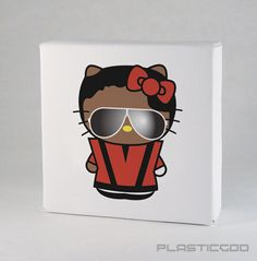 """Michael Jackson Thriller Kitty by Plasticgod 4""""x4"""" Limited ed. of 35 signed, numbered and dated. For purchase info: plasticmail@gmail.com SOLD OUT"""