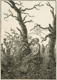 Caspar David Friedrich. Woman with Spider's Web Between Bare Trees, 1803. Woodcut on ivory wove paper,   Art Institute of Chicago
