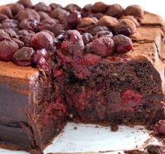 A serious chocolate cherry cake recipe that will satisfy any chocolate addiction. It& an indulgent dark chocolate cake with luscious sweet cherries. Box Cake Recipes, Plum Recipes, Cherry Recipes, Snack Recipes, Dessert Recipes, Chocolate Cherry Cake, Dark Chocolate Cakes, Chocolate Chips, Cupcakes