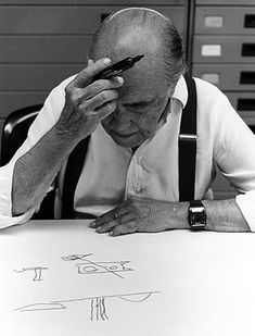 Oscar Niemeyer at work - Architecture History: 50 Years of Brasilia