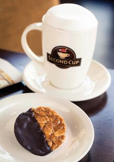 A gluten-free Florentine cookie with half of a small cappuccino at Second Cup in Naples, FL. Photo by Erik Kellar. Florentine Cookies, Good For Her, Naples, Wine Recipes, Gluten Free, Tasty, Healthy, Tableware, Food
