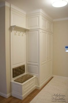hall wardrobe with upholstered seat, classic wardrobe, wooden furniture, classic design, handmade fu Handmade Furniture, Home Decor Furniture, Home Decor Bedroom, Entryway Decor, Diy Home Decor, Wooden Furniture, Flur Design, Plafond Design, Bedroom Closet Design