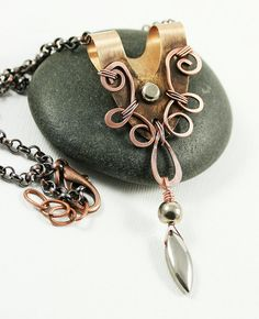 Copper+Washer+Pendant+Drop+Necklace+by+WhimOriginals+on+Etsy,+$65.00