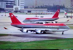 Northwest Airlines Boeing 747-451s at Hong Kong-Kai Tak International Airport