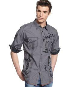 INC International Concepts Shirt, Long Sleeve Addison Shirt - Mens Casual Shirts - Macy's