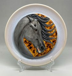 handmade and custom glazed horse head plate Foam Packaging, Box Branding, Franklin Mint, Draft Horses, Wooden Background, Horse Head, Small Boxes, Glazed Ceramic, Earthenware