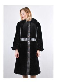 60s Vintage Shearling Black leather Unique Long Coat   Vulgar   ASOS Marketplace