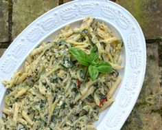 Pasta with Zucchini Noodles, Ricotta & Basil Pesto, a summery Meatless Monday vegetarian supper ♥ A Veggie Venture