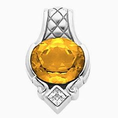 Platinum Oval Cut Citrine and Diamond Pendant Gems-is-Me. $2118.48. FREE PRIORITY SHIPPING. This item will be gift wrapped in a beautiful gift bag. In addition, a 'gift message' can be added.