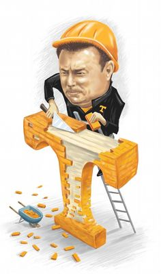Illustration of Butch Jones and his trademark saying, 'Brick by brick.'