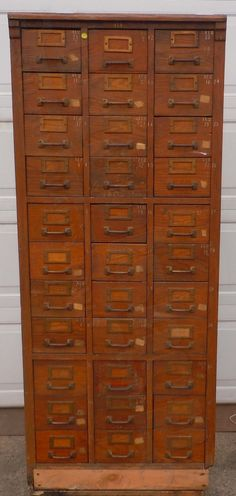 Antique Oak Mail Room File Boxes