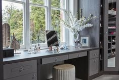 Bespoke Dressing Room This stunning design includes a sumptuous dressing table next to the window. Dressing Table Under Window, Bay Window Dressing, Built In Dressing Table, Dressing Table Storage, Bedroom Dressing Table, Dressing Table Design, Bedroom Table, Bedroom Decor, Dressing Table And Drawers