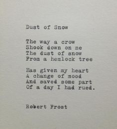 Dust of Snow Frost Quote