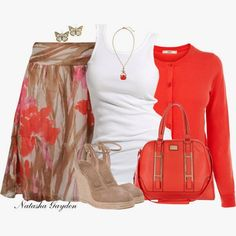Spring Outfit - Coral & neutrals