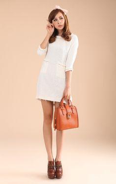 $38.55 Korean sleeve woolen pocket Slim Dress
