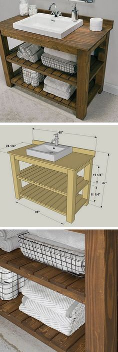 A DIY bathroom vanity is a great way to revamp your bathroom rather easily. After all, the vanity is most likely the focal point of your entire bathroom decor. Here are 24 easy DIY bathroom vanity plans with tutorials. Rustic Bathroom Designs, Rustic Bathroom Vanities, Diy Bathroom Vanity, Diy Vanity, Vanity Ideas, Modern Bathroom, Small Bathrooms, Rustic Vanity, Bathroom Cabinets