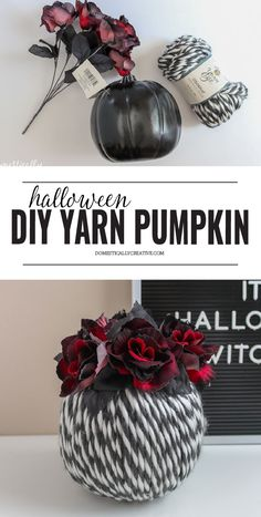 Get your Halloween decorating on with this easy to make DIY Halloween Yarn Pumpkin. You only need a few simple supplies! Get your Halloween d Cute Halloween Food, Halloween Yarn, Halloween Decorations To Make, Halloween Projects, Halloween Wreaths, Halloween Ideas, Diy Projects, Yarn Crafts For Kids, Diy Crafts For Adults