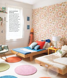 Martha Stewart Living, Oct 2011, shared bedroom with bright patterns and white walls