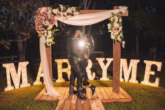 Cute & simple romantic proposal | Floral arch | Marry me signage |Under the stars proposal | Moonlit night |Photographer: unknown | Source: theperfectproposal | #romantic #willyoumarryme #propose #marry #proposalideas #marriageproposals #romance #couplegoals #inlove #shesaidyes #proposing #gettingmarried #underthestars #moonlight #wittyvows Romantic Proposal, Floral Arch, Marriage Proposals, Under The Stars, Marry Me, Vows, Moonlight, Getting Married, Love Story