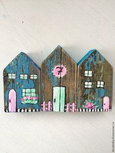 Купить Домики декоративные - голубой, дерево, домик, домики, декоративные элементы, декор для интерьера, Декор