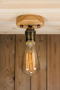 Real Brass socket Ceiling light Industrial ceiling wood or brass canopy light, Antique Edison Bulb, Lamp, Rustic Lighting